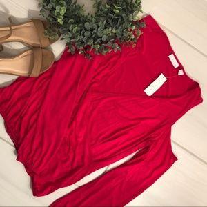 NY&Co Hot Pink Wrap Cold Shoulder Blouse